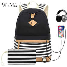 2 Sets USB School Bags For Teenager Girls Backpack Laptop Bag For Women 2019 Backpacks Phone Bag Striped Print mochila escolar - DISCOUNT ITEM  44% OFF All Category