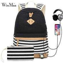 2 세트 십대 소녀 배낭 노트북 가방에 대 한 USB 학교 가방 여성 여행 배낭 전화 가방 스트라이프 인쇄 mochila feminina