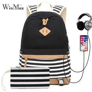 Image 1 - Conjunto de 2 mochilas escolares con USB para adolescentes y niñas, morral escolar con USB para ordenador portátil, morral de viaje para mujer, bolsa para teléfono, mochila femenina con estampado a rayas