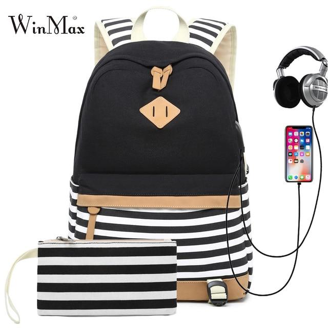 Conjunto de 2 mochilas escolares con USB para adolescentes y niñas, morral escolar con USB para ordenador portátil, morral de viaje para mujer, bolsa para teléfono, mochila femenina con estampado a rayas