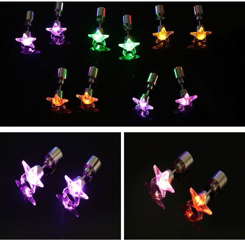 CLAITE 1 Pair LED Glowing Stud Earring Luminous Five Pointed Star Earrings Dance Party LED Color Random Earring Light