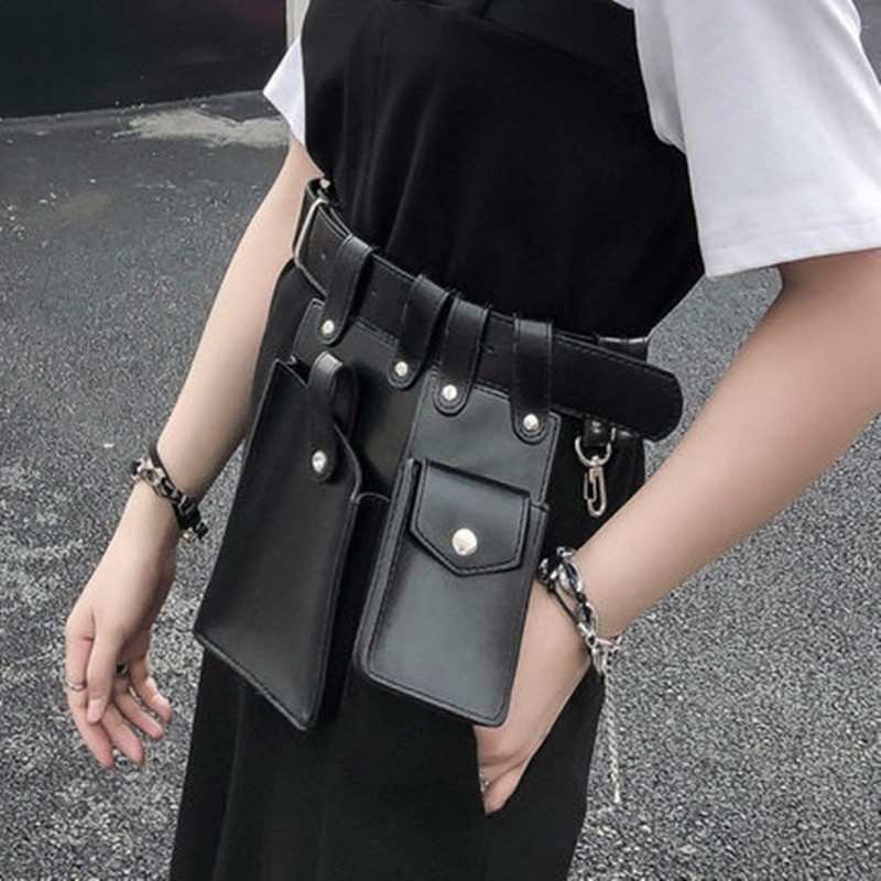 New Fashion Phone Bag Package Woman Packet Cummerbund Punk Street Pu Leather Belt Pocket