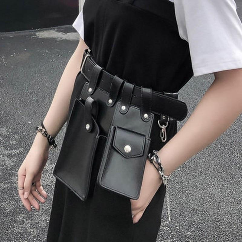 New Fashion Phone Bag Package Woman Packet Cummerbund Punk Street Pu Leather Belt Pocket