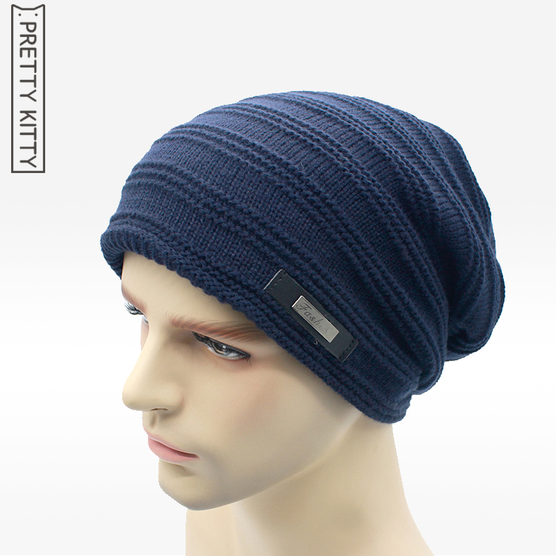 New Knitted  men Winter hat Beanies Solid Color Hat men  Warm Soft Beanie Double layer plus thick velvet Cap bonnet Gorro Caps hight quality winter beanies women plain warm soft beanie skull knit cap hats solid color hat for men knitted touca gorro caps