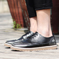 2016 Genuine Leather Brogue Fashion High Quality Flat Casual Shoes  Spring Autumn Breathable Brand Shoes Men Chaussure Homme-e
