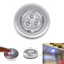 Battery Powered Home Kitchen Under Cabinet Closet light 3LED LED night Wardrobe Touch Light click D25
