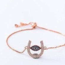 Золотая, серебряная цепочка micro pave cz Циркон кубический цирконий веревочный браслет с регулировкой макраме подковы глаз браслет hgk6g Модные женские