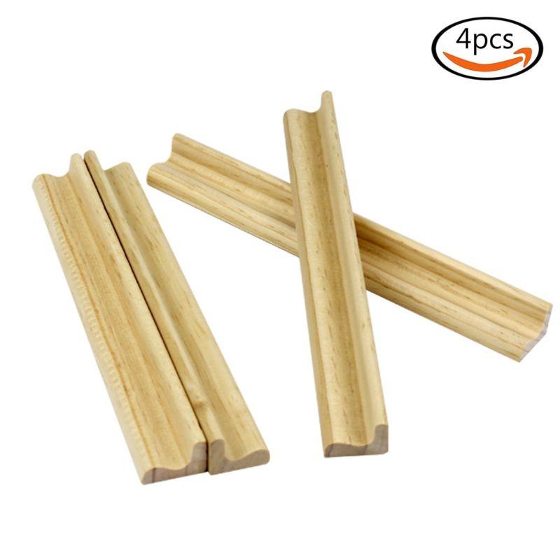 4pcs Smooth Surface Scrabble Letter Stand Rack Tile Holder Wooden Use For Wedding Wood Shelf Kids Toy