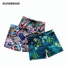 Swimwear Swimming-Shorts Beach Print Mid-Waist Elastic Quick-Dry Comfortable Sexy Men