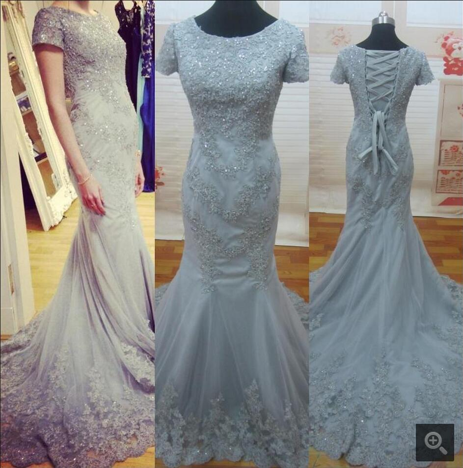 2016 new design silver lace mermaid real picture   prom     dress   court train beading sequins   prom   gowns formal   dress   hot sale