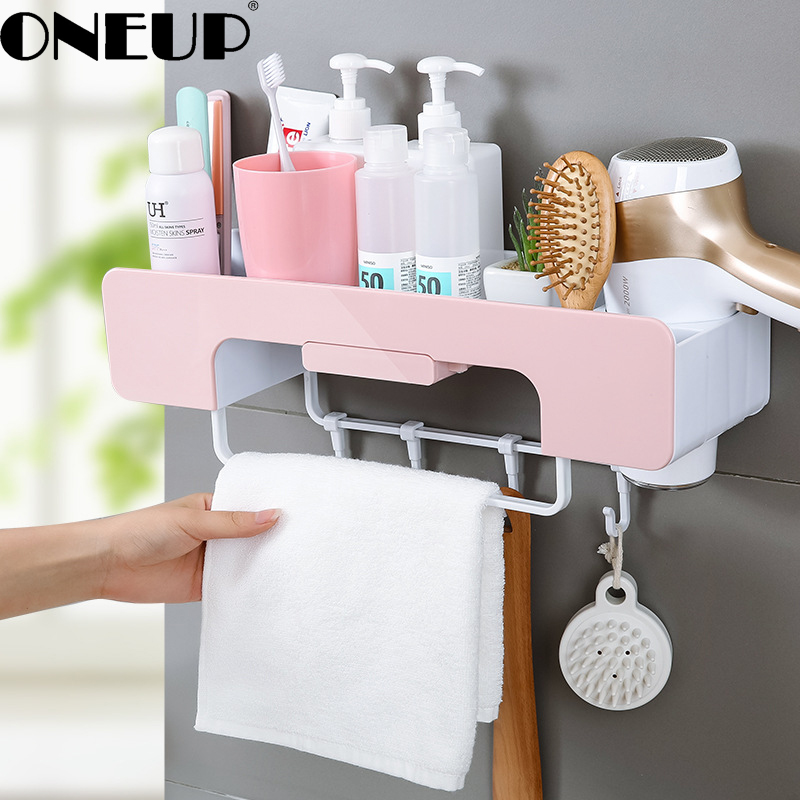 ONEUP Bathroom Shelf Bathroom Set Bathroom Vanity Storage Bathroom Wall Hanging Suction Cup Suction Wall Type Free Punching