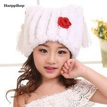 Зимняя шапка для детей натурального меха кролика cap детские толстые теплые зима меховая шапка прекрасный мальчик и девочка шапки хорошее качество шляпа