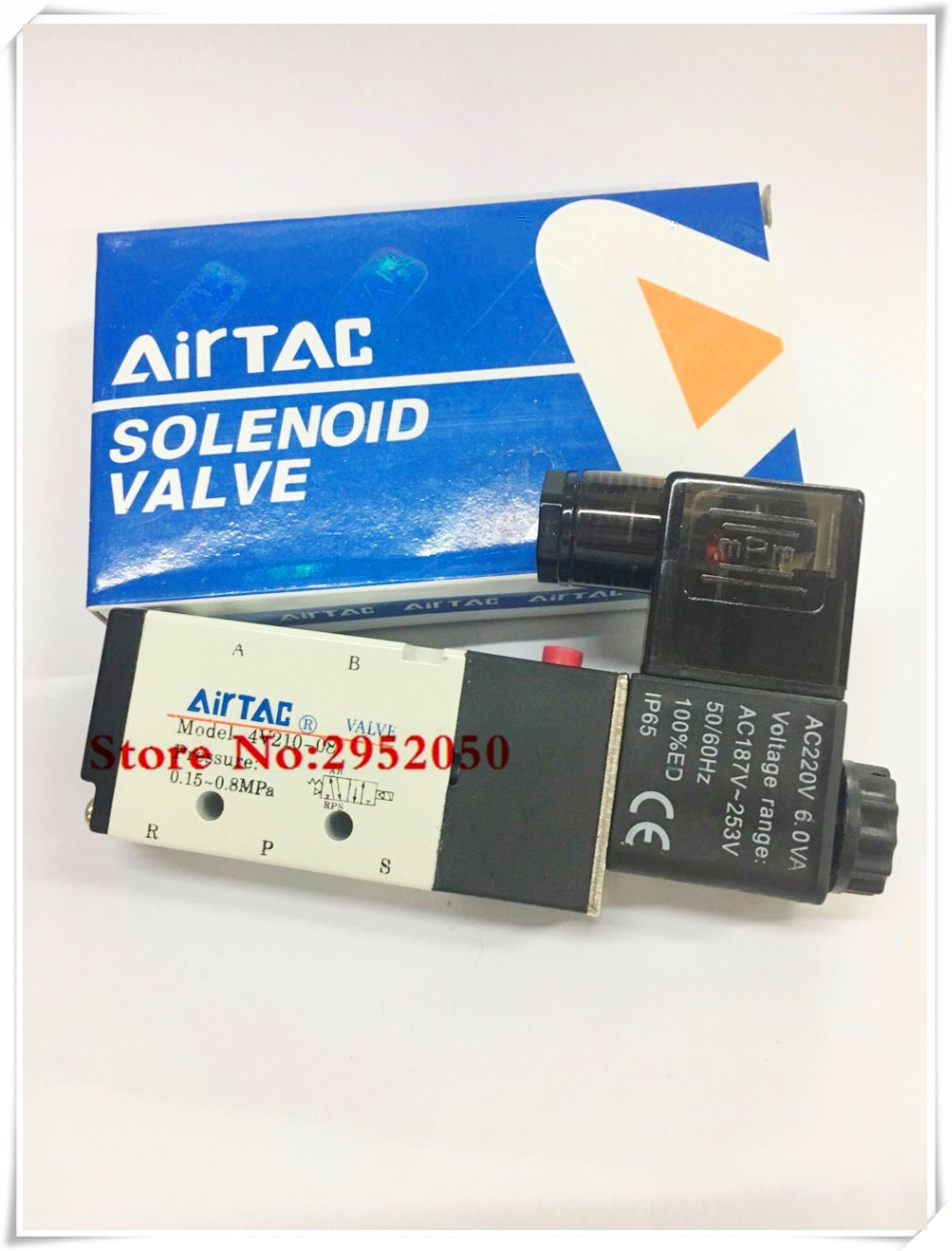 Free shipping 5 Way 2 Position Airtac Electric Solenoid Valve 4V210-08 DC 24V DC12V AC110V AC220V 1/4 Port Size free shipping 5 way 2 position 1 4 airtac solenoid valve 4v210 08 dc24v dc12v ac110v ac220v ac380v