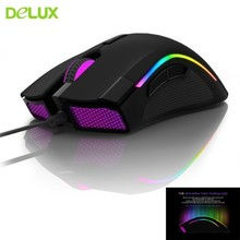 лучшая цена Delux M625 PMW3360 RGB Gaming Computer Mouse Ergonomic Wired 12000DPI Optical Usb Cable Gamer PC Mause With Fire Key For Laptop