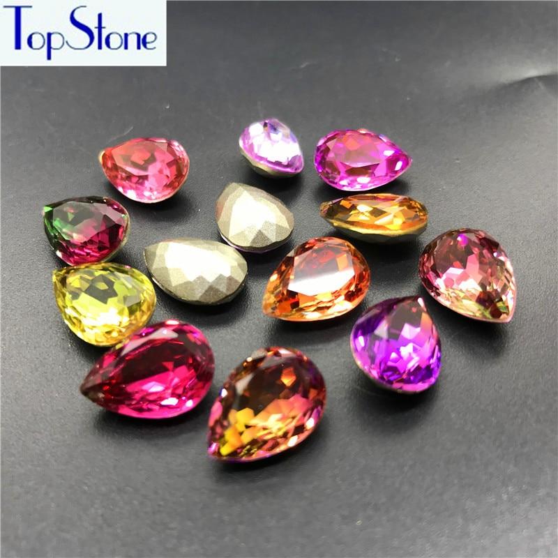 TopStone Nouveau Couleurs Tourmaline 10x14mm, 13X18mm K9 Verre Teardrop Pointback Fantaisie Pierre Droplet cristal Strass