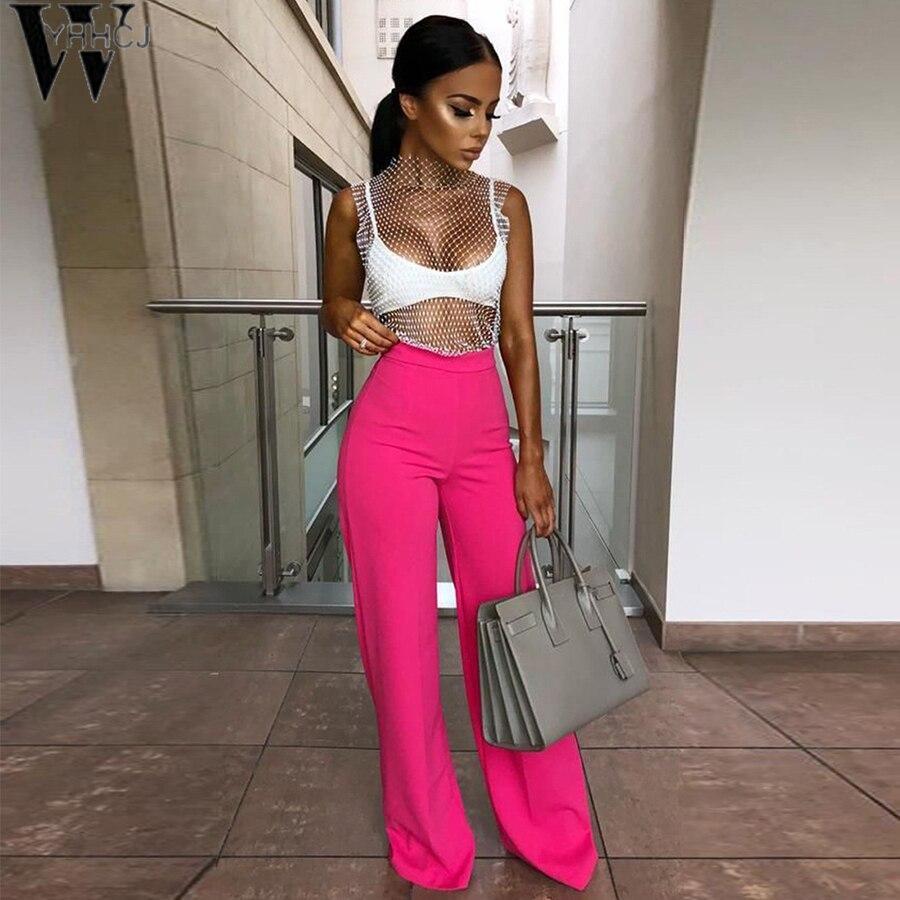 WYHHCJ   Wide     Leg     Pants   Women Summer 2019 Spring Streetwear High Waist   Pants   Elastic Casual Drawstring Long Trousers