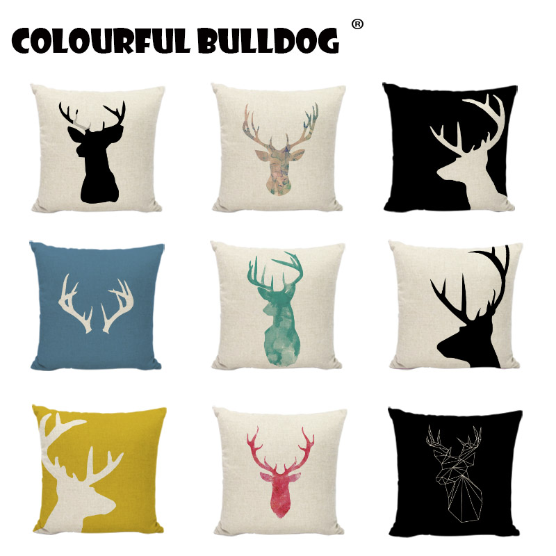 Nordic Style Geometric Cushion Cover Deer And Antlers Pillowcases Sham Home Sofa Bedding Decor Cushions Decor Throw Pillow Cover