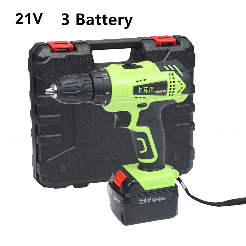 21v Cordless Screwdriver Russian Free Shipping Household Rechargeable Drill Battery Electric Drill Tools 3PCS Lithium Battery