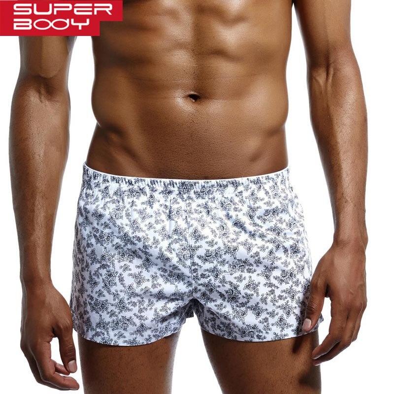 SUPERBODY 2019 Mens Loose Boxers 100% Cotton Men Underwear Boxer Shorts Men Boxers Home Sleepwear For Man Underpants