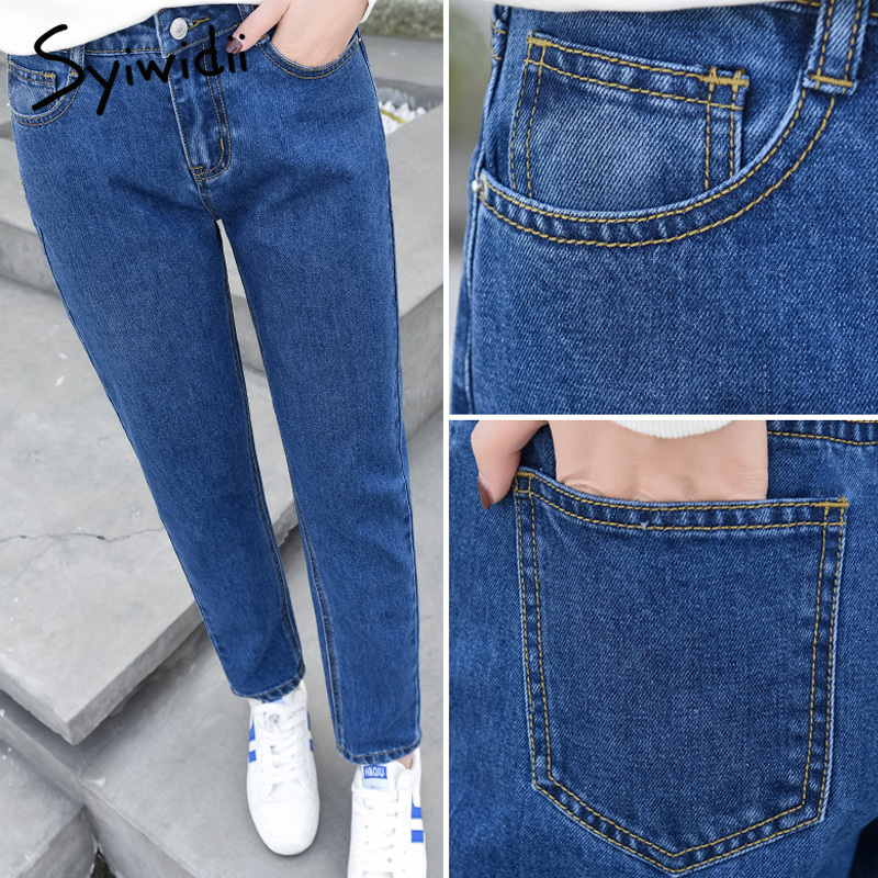Jeans Guuzyuviz Plus Size Autumn Winter Denim Cotton Elasticity Harem Pants Casual High Waist Washed Jeans Woman