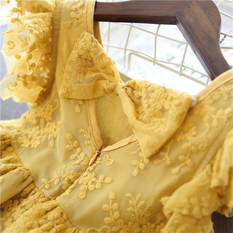 HTB19rFjegaH3KVjSZFjq6AFWpXaC Girl Dress Kids Dresses For Girls Mesh Casual Lace Embroidery Princess Baby Girl Clothes Summer Sleeveless Dress Kids Clothes