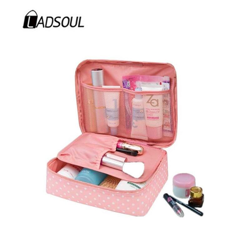 LADSOUL Women Makeup Bag Cosmetic Bag Case Multi-functional Make Up Storage Rushed Floral Nylon Zipper Travel Wash Bag CD5615/h