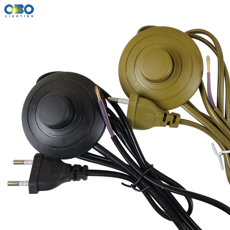 EU Plug With Switch Wire 1 7M Dimmer Black White Lamp Cable For Table Lamp For Floor lamp 110 220V Electricity Wire in Dimmers from Lights Lighting