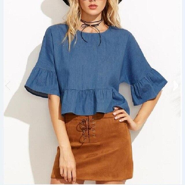 Новый Для женщин пикантные летние с расклешенными рукавами деним Стильные топы Женская джинсовая рубашка Лидер продаж свободные вечерние повседневные синие джинсы Блузка