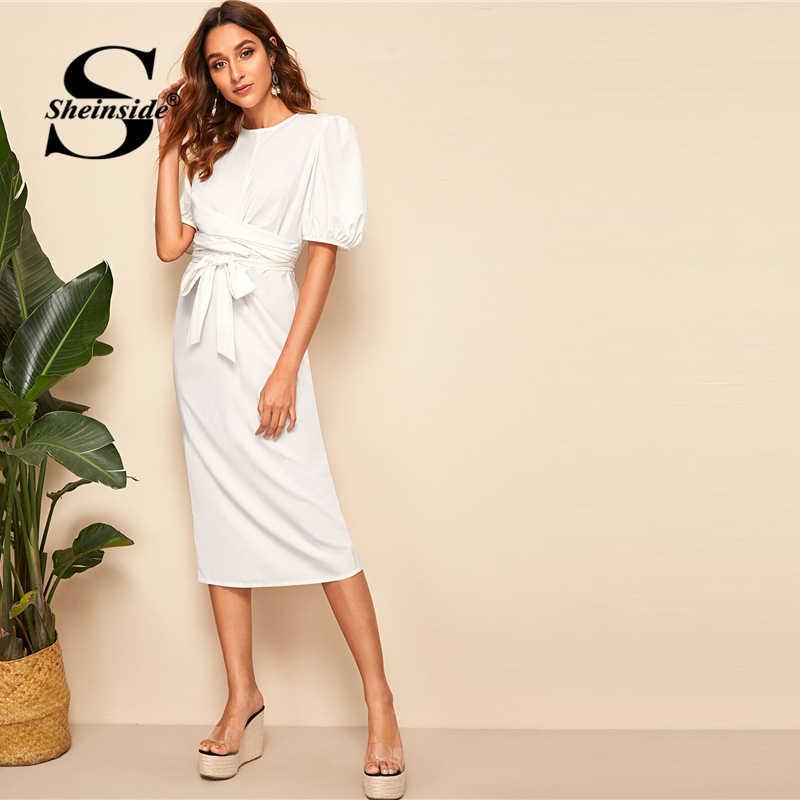 Sheinside, прочный фонарь, рукав, обертывание, платье-карандаш с поясом, женское платье 2019, летние элегантные белые платья с коротким рукавом, женское платье с поясом