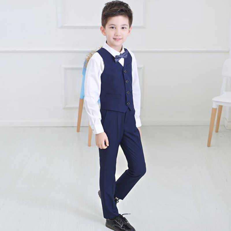 09518201acbb 2019 promoción Big Boys chaleco conjunto de ropa de ocio para niños trajes  de fiesta de boda trajes de Navidad para camisa de corbata