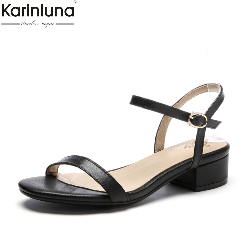 KarinLuna 2018 Top Quality Big Size 34-43 Genuine Leather Square Heels Summer Sandals Woman Fashion ankle-strap women's Shoes