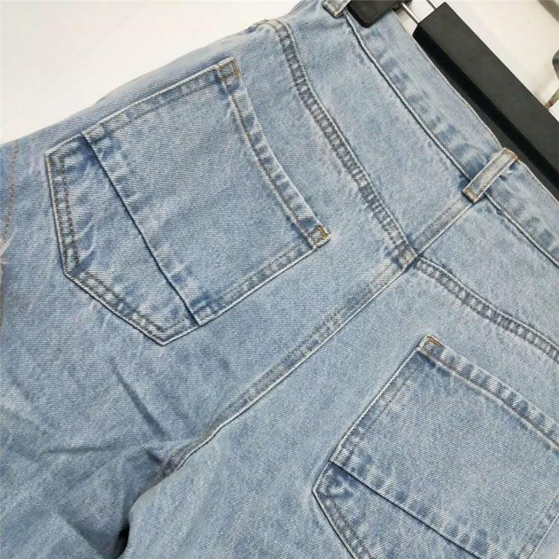 Las Irregular Mujeres Perspectiva Marca Pantalones Encaje Brillante Damas Ruique Denim Alta Moda Vaqueros Malla Star De Sexy Patchwork RxSzqSgwvP