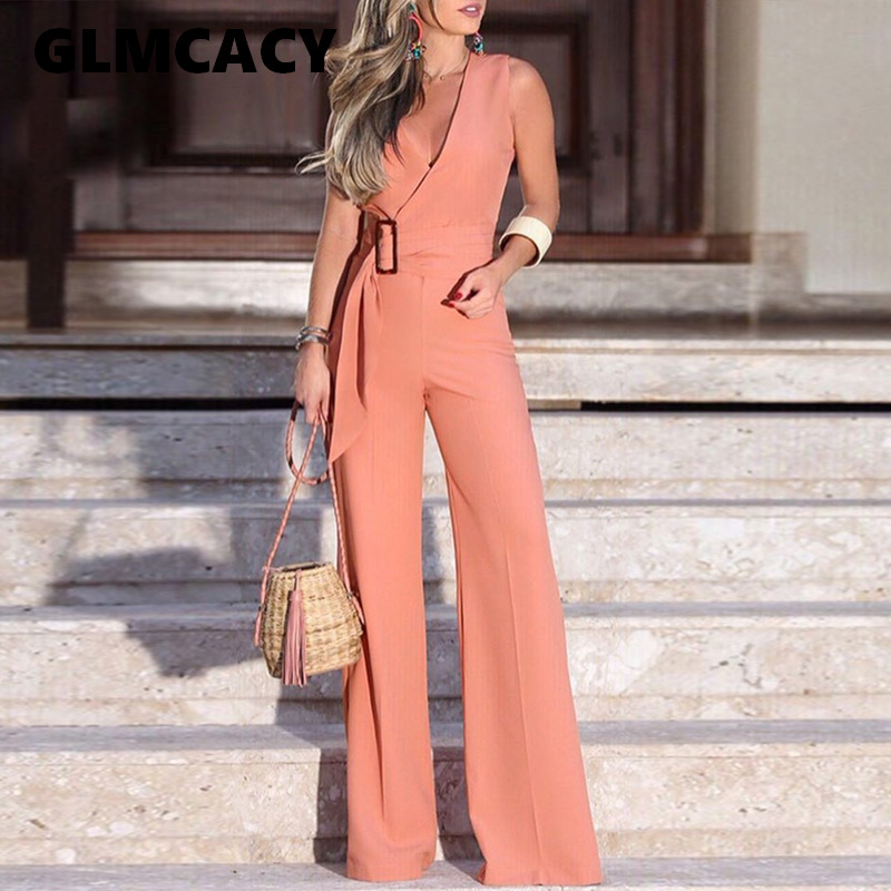 Women Summer Elegant Vacation Stylish Sleeveless Pink Casual Overalls Leisure Romper V-Neck Buckle Self-belt Wide Leg   Jumpsuit