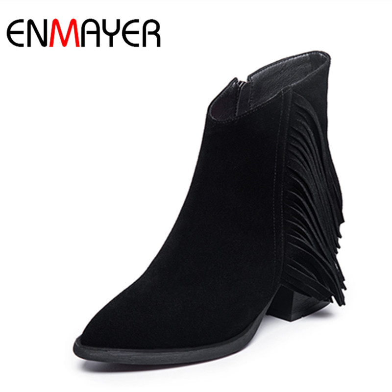 ФОТО ENMAYER Motorcycle Boots Shoes Woman Black Shoes High Heels Platform Winter Ankle Boots for Women Large Size 34-41 Casual Shoes