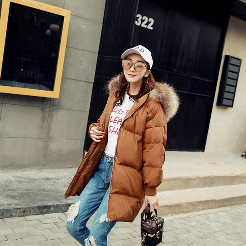 2017 New Korean Winter Jacket Girls Fashion Long Loose Caramel A Large Thick Fur Collar Jacket 16 Years Old new hooded fur collar clothing women korean costume loose long outerwear female large size thick winter coat female okxgnz q1057
