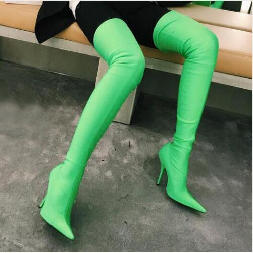 22c7a43c46aa7 US $78.47 41% OFF|Spring Autumn Satin Stretchy Sock Boots Pointed Stiletto  Thigh High Boots Kylie Jenner Shoes Woman Over The Knee Floral Booties-in  ...