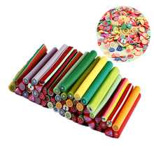 500Pcs Nail Art Fimo Fruit Decoration Slices Rod Sticks Flower Feather Cake Design DIY Nails Tips Manicure Accessories Wholesale 3d nail art fimo soft polymer clay fruit slices cartoon for nail manicure sticker cell phones diy designs wheel decoration czp35