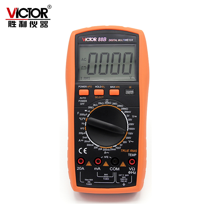 все цены на Victor VC88B 3 1/2 Digits 2000 Counts Manual Range 20A Resistance Capacitance Frequency Temperature Measurement в интернете
