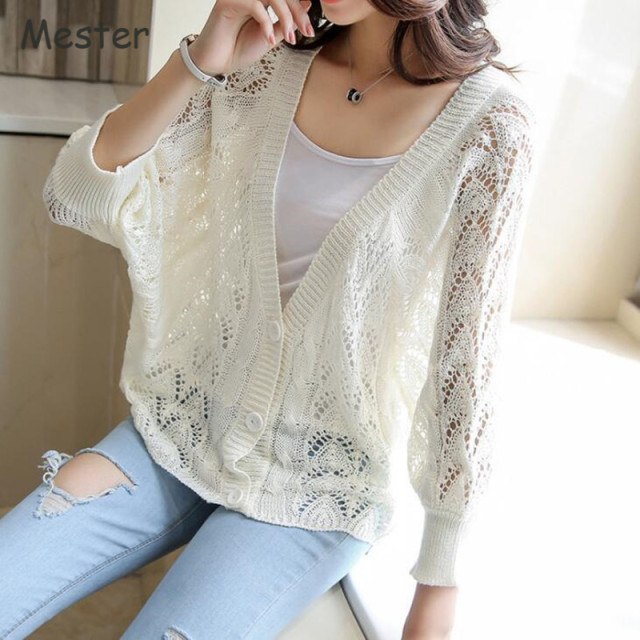 Women Hollow Out Batwing Cardigan Spring Summer Button Up ...