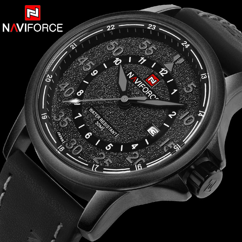 Men Sport Watches NAVIFORCE Luxury Top Brand Quartz Watches For Men Waterproof Auto Date Leather Wristwatches Relogio Masculino 2017 new top fashion time limited relogio masculino mans watches sale sport watch blacl waterproof case quartz man wristwatches