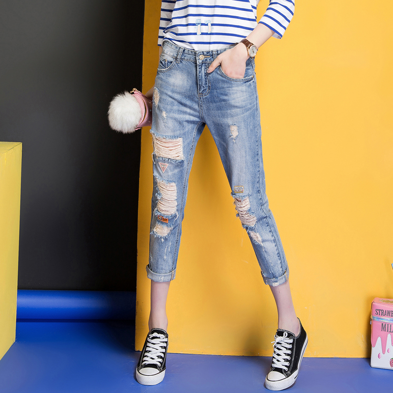 Fanslaidi 2017 Spring Summer New Jeans Women Ankle-Length Straight Mid Waist Jeans Lady Ripped Loose Fashion Trousers Plus Size