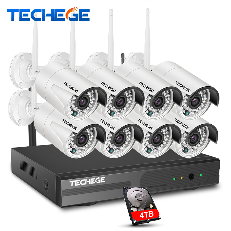 Techege 8CH Wireless IP Camera Wi-fi NVR Kit 960P HD Outdoor IR Night Vision Security Network WIFI CCTV System P2P Plug and Play