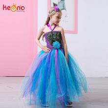 Peacock Feather Flower Girl Tulle Tutu Dress Pageant Wedding Halloween Costume Kids Birthday Party Purim Couture