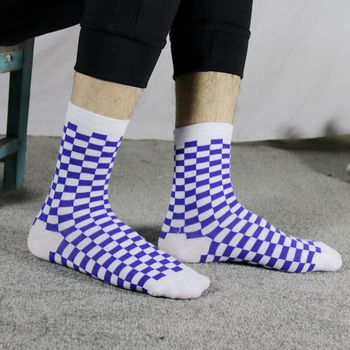Korea Funky Harajuku Trend Women Checkerboard Socks Geometric Checkered Socks Men Hip Hop Cotton Unisex Streetwear Novelty Socks 7