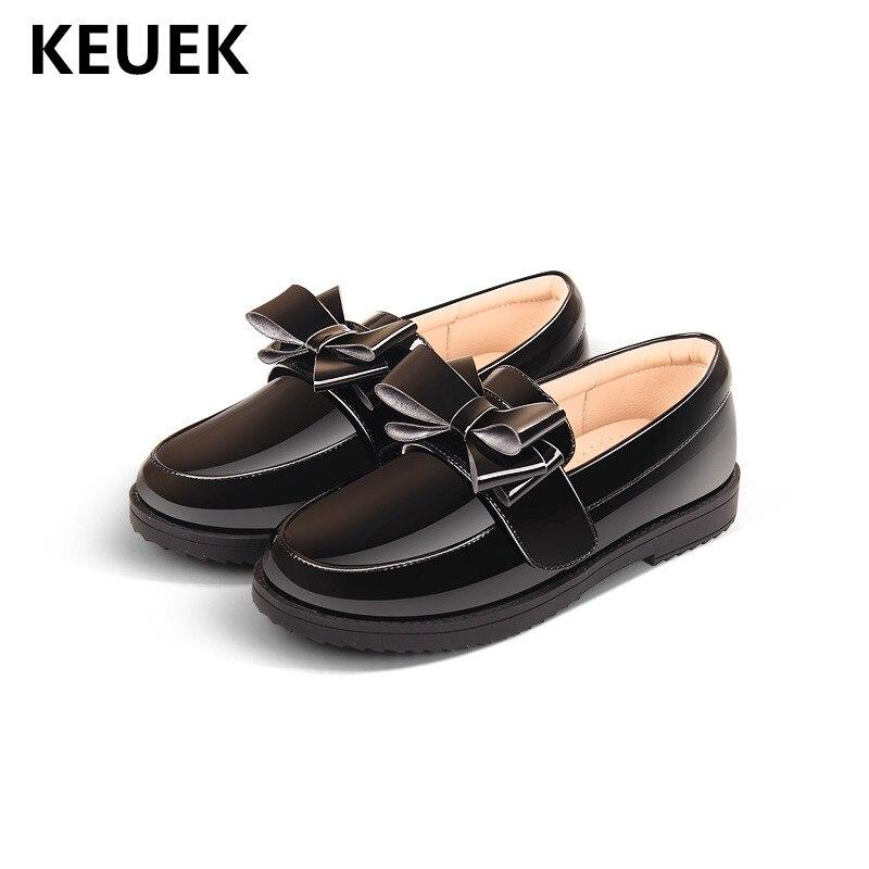 93ad91a193ea5 Nouveau printemps enfants mocassins papillon-noeud noir en cuir chaussures  filles princesse étudiant fond souple