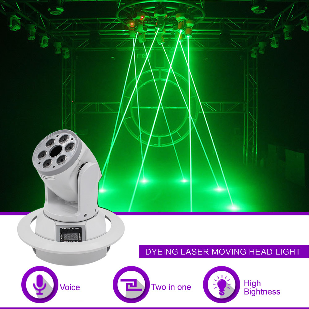 Sharelife 6 Lens 8W RGBW LED Mixed 500mw Green Laser Beam DMX Moving Head Projector Light DJ Party Show Stage Lighting DJ-SZ6