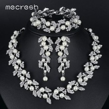 Mecresh Simulated Pearl Bridal Jewelry Sets Silver / Gold-Color Necklace Set Wedding Jewelry Parure Bijoux Femme TL283+SL089(China)