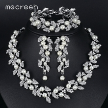 3pcs/set Noble Round Pearl with Top Crystal Bridal Wedding Accessories Jewelry Sets TL283+SL089