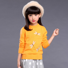 2017 New Designs Children's Sweaters Girls Knitted Sweaters Kids Dragonfly Pattern Warm Pullover Sweter For 2 3 4 5 6 7 8 9 10