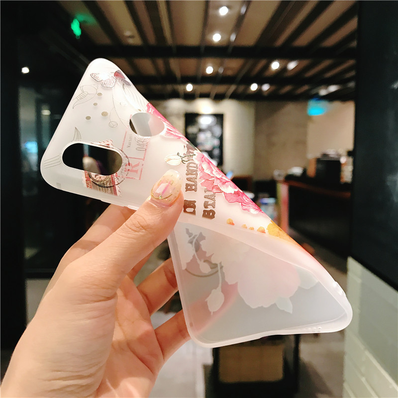 3D relief flower silicone phone case New fashion cover  for iphone XS MAX XR 5 6 7 8 plus Rose floral OPPO soft TPU Cover